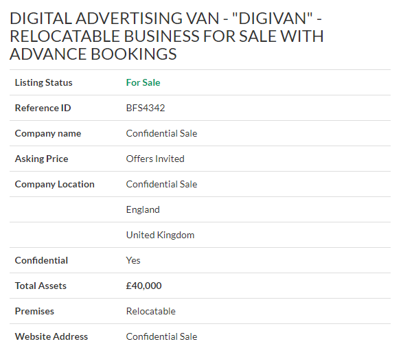Business For Sale Digital Advertising Van Digivan For Sale Ref Bfs4342 Location Northyorksh Business Valuation Digital Advertising Sell Your Business