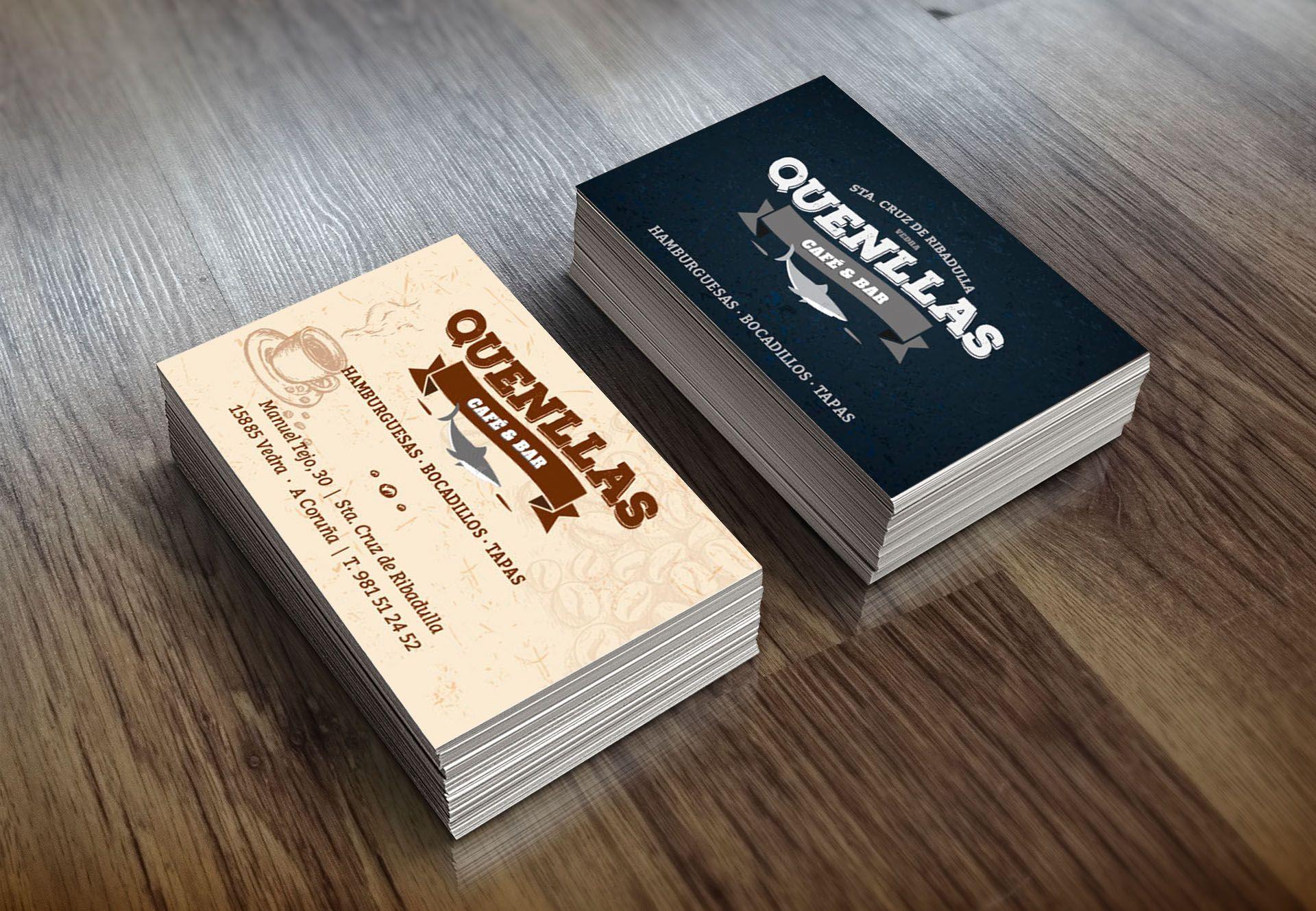 Tarjetas De Visita Para El Caf Bar Quenllas Packaging Y  # Muebles Santos Boqueixon