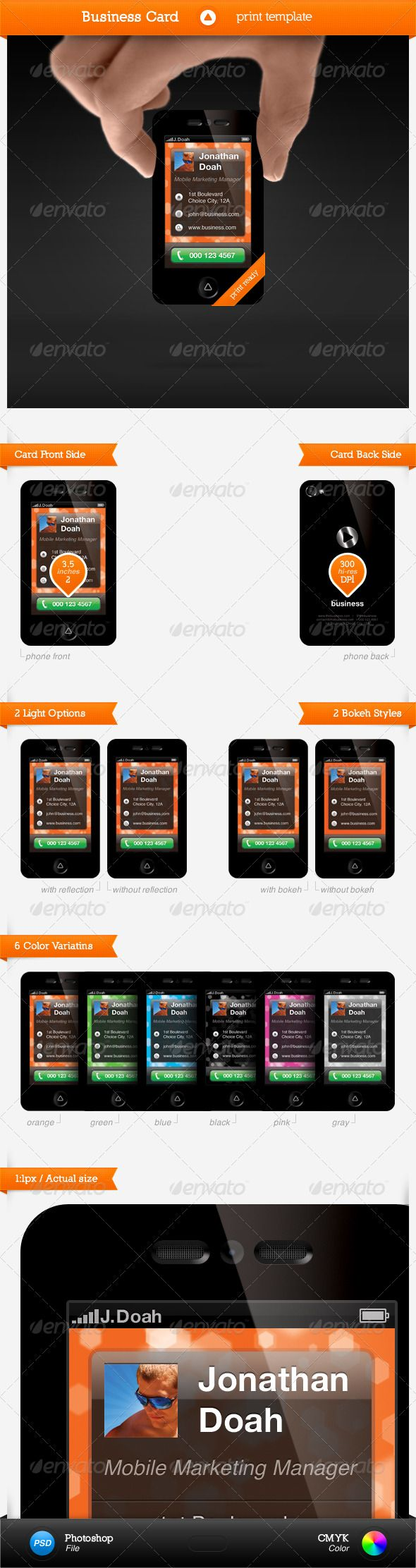 Smartphone Business Card   Business cards, Vector shapes and Business