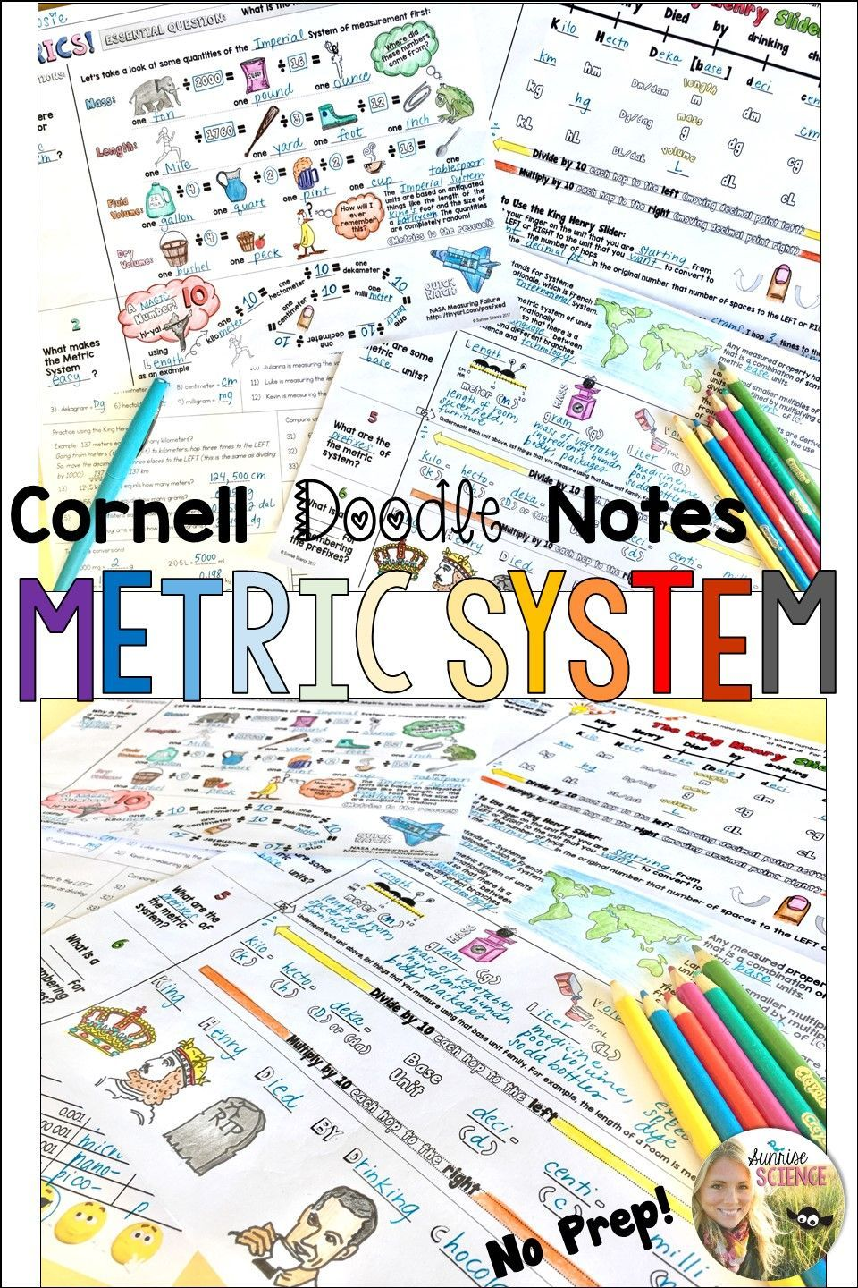 Metric System Cornell Doodle Notes Metrics Conversions with ...