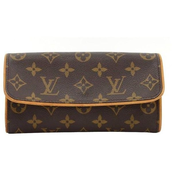 Preowned Louis Vuitton Pochette Twin Pm Monogram Canvas Clutch Bag (185 CHF) ❤ liked on Polyvore featuring bags, handbags, clutches, multiple, monogrammed handbags, pre owned handbags, shoulder strap handbags, shoulder strap purses and pre owned purses