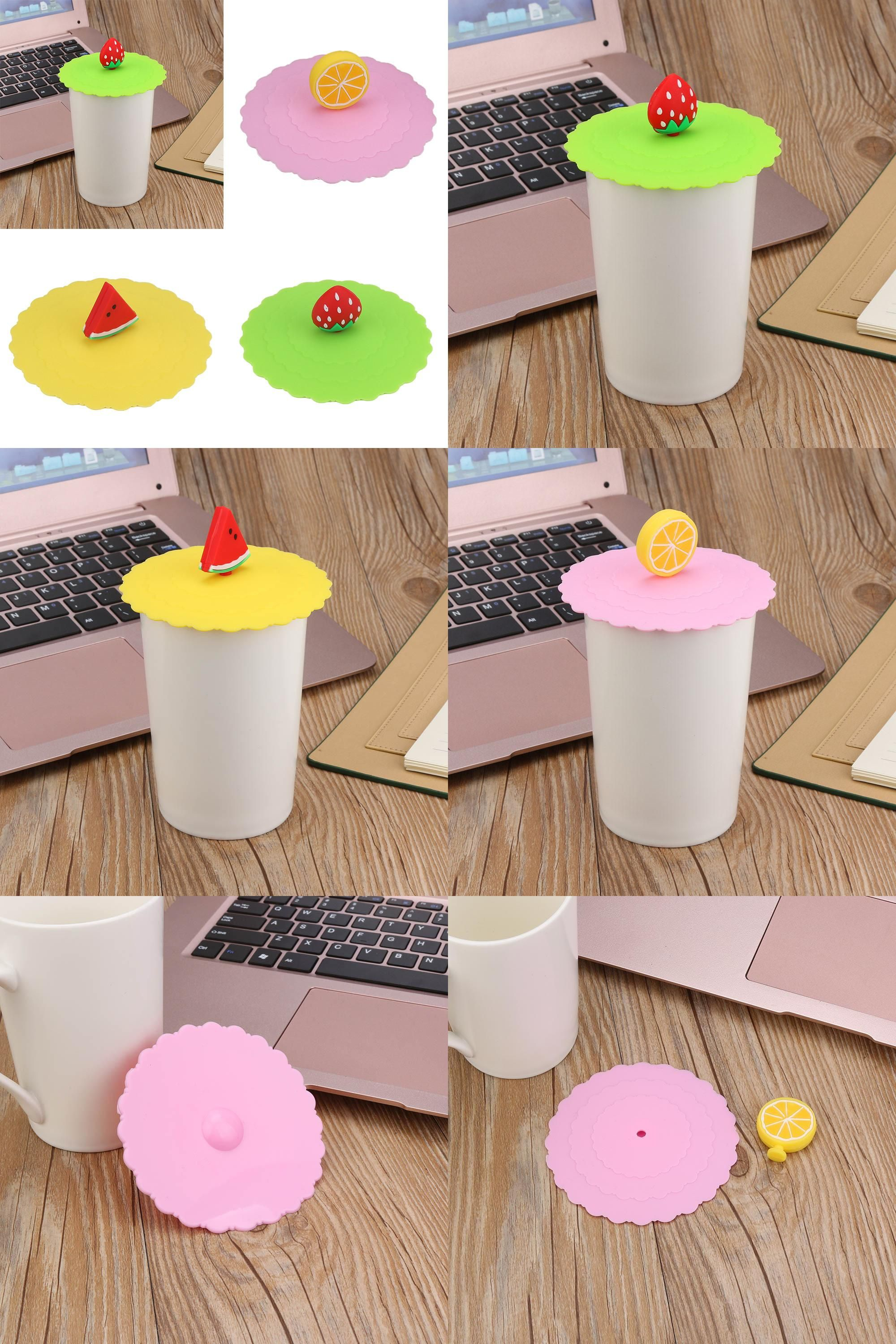 Hot Cute Fruit Lace Dust Reusable Silicone Cover Cup DIY Free Splicing