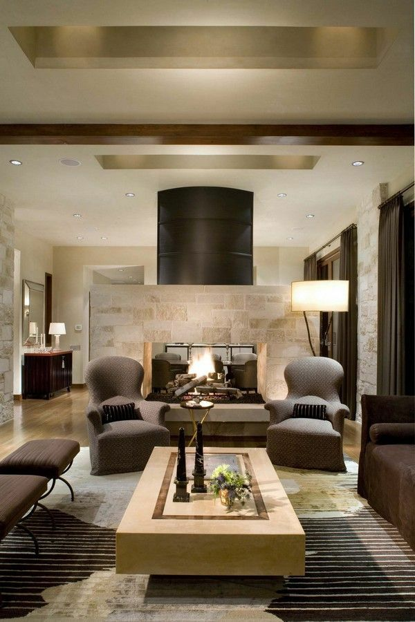 Landhausstil Wohnzimmer Modern Einrichten Fellteppich Steinwand
