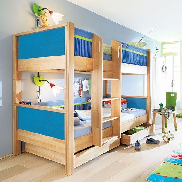 Poschodová posteľ Matti modrá - drevo