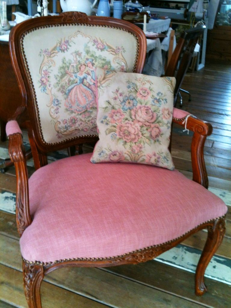 Shabby Chic re upholstered chair, pretty in pink!