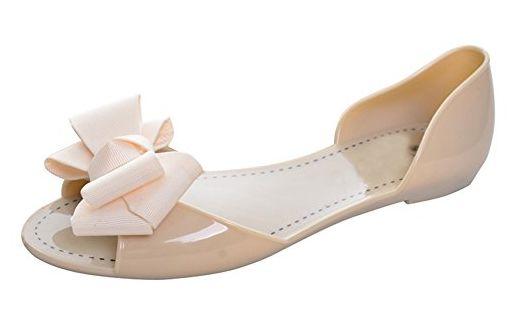 Minetom Damen Mädchen Sommer Strand Ebeneschuhe Schuhe Süßen Stil Spitz Zehe Schuhe Mit Bowknot Offener Zeh Geleeschuhe Schwarz EU 37 WIj8uctgK4