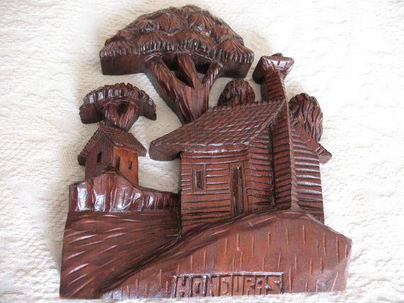 Honduras hand craved wood wall hanging by hananyunis on Etsy, $33.00