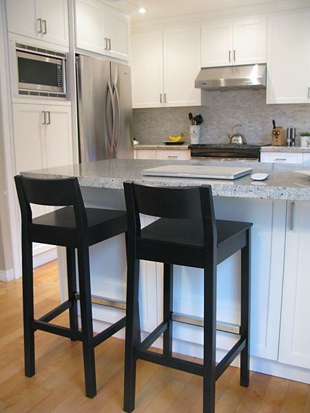 Kitchen bar stools. Black, wooden? With chair back. | House ...