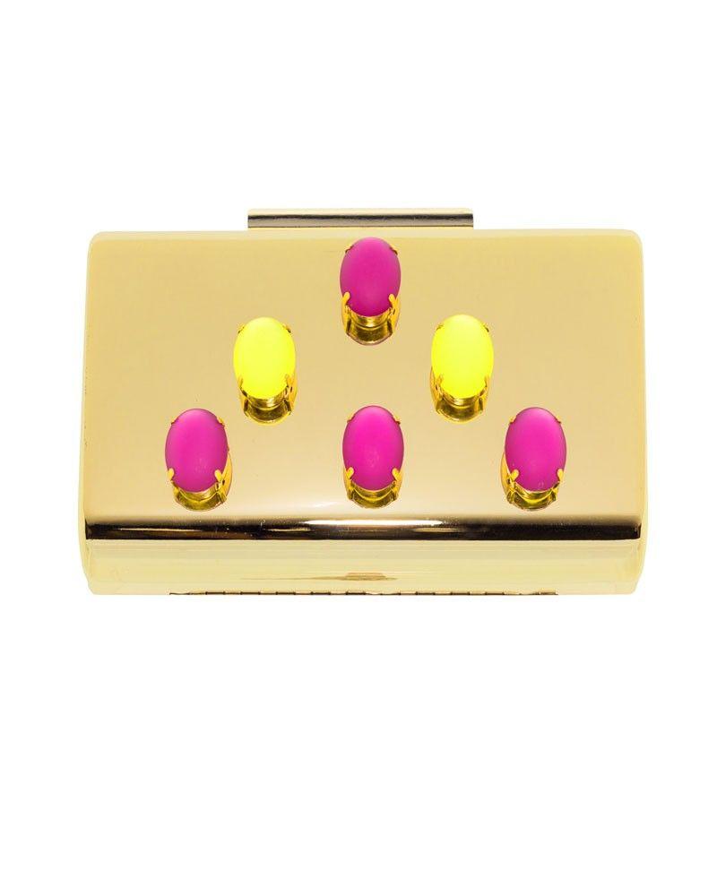 bodaAPPARENTIA amarillo dorado evento piedras fucsia laton fiesta rosa para fluor bolso nBq6HwUTPw