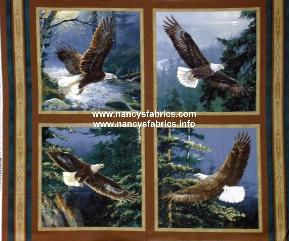 All He Surveys Eagle Fabric Panel, set of 4 pillow panels Pricing ... : cushion panels to quilt - Adamdwight.com