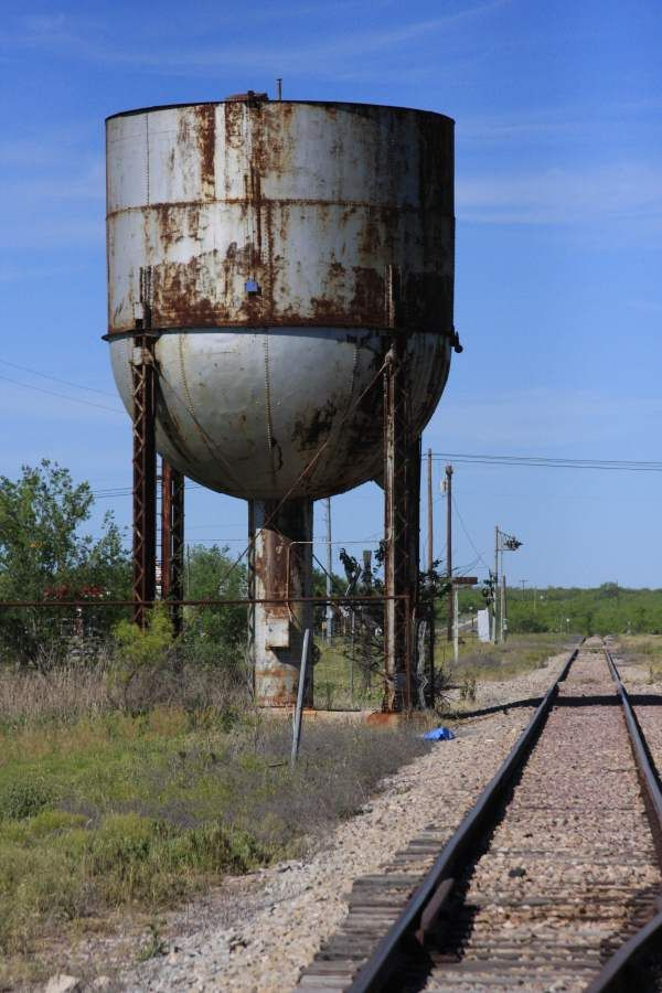 old railroad steam train water tower barnhart texas