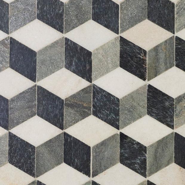 Modern Geo Slate Mosaic Floor Decor In 2020 Mosaic Flooring Floor Decor Quartz Tiles