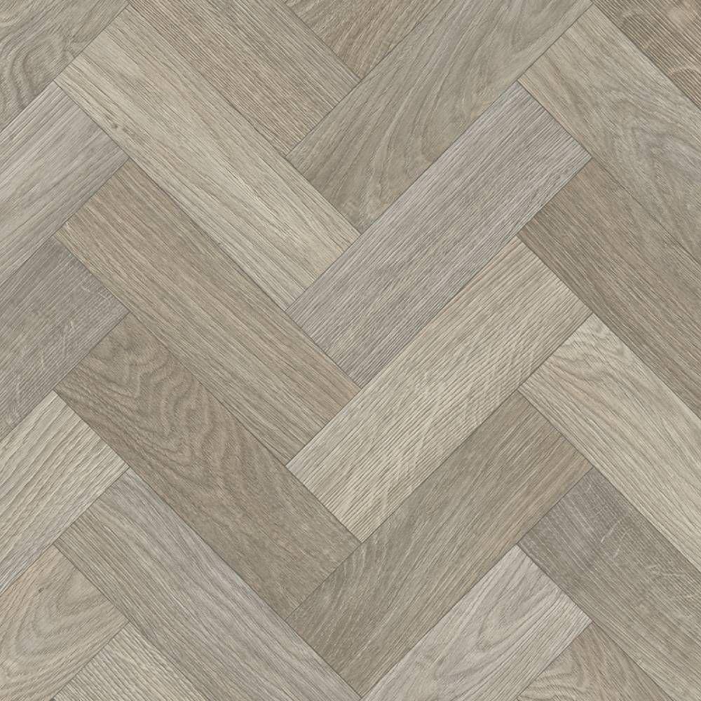 Herringbone Cushioned Vinyl Flooring Sheet Fired Timber in