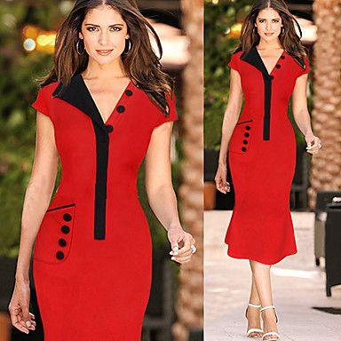 PVE Women\'s Character Red Dresses , Vintage / Sexy / Bodycon ...