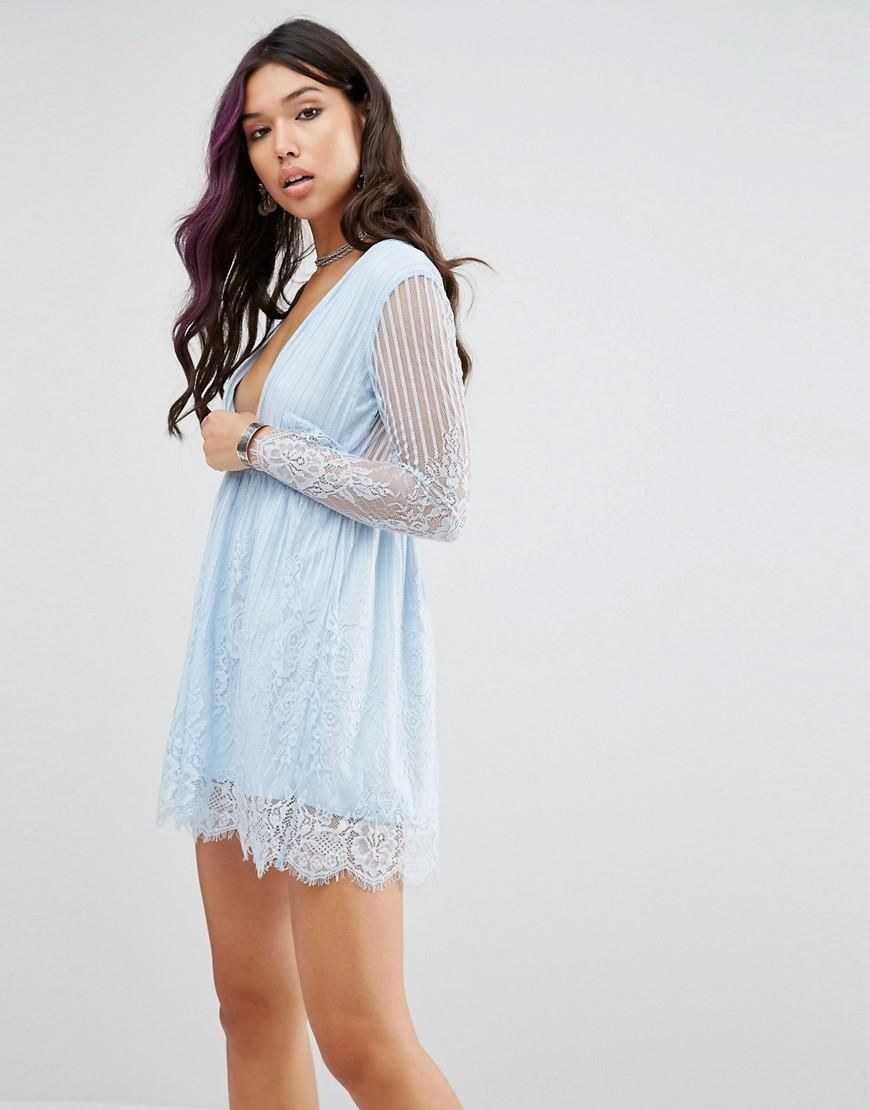 Motel | Motel Wrap Front Skater Dress In Delicate Lace at ASOS