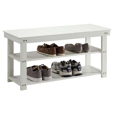 Superb Oxford Utility Mudroom Bench White Convenience Concepts Machost Co Dining Chair Design Ideas Machostcouk
