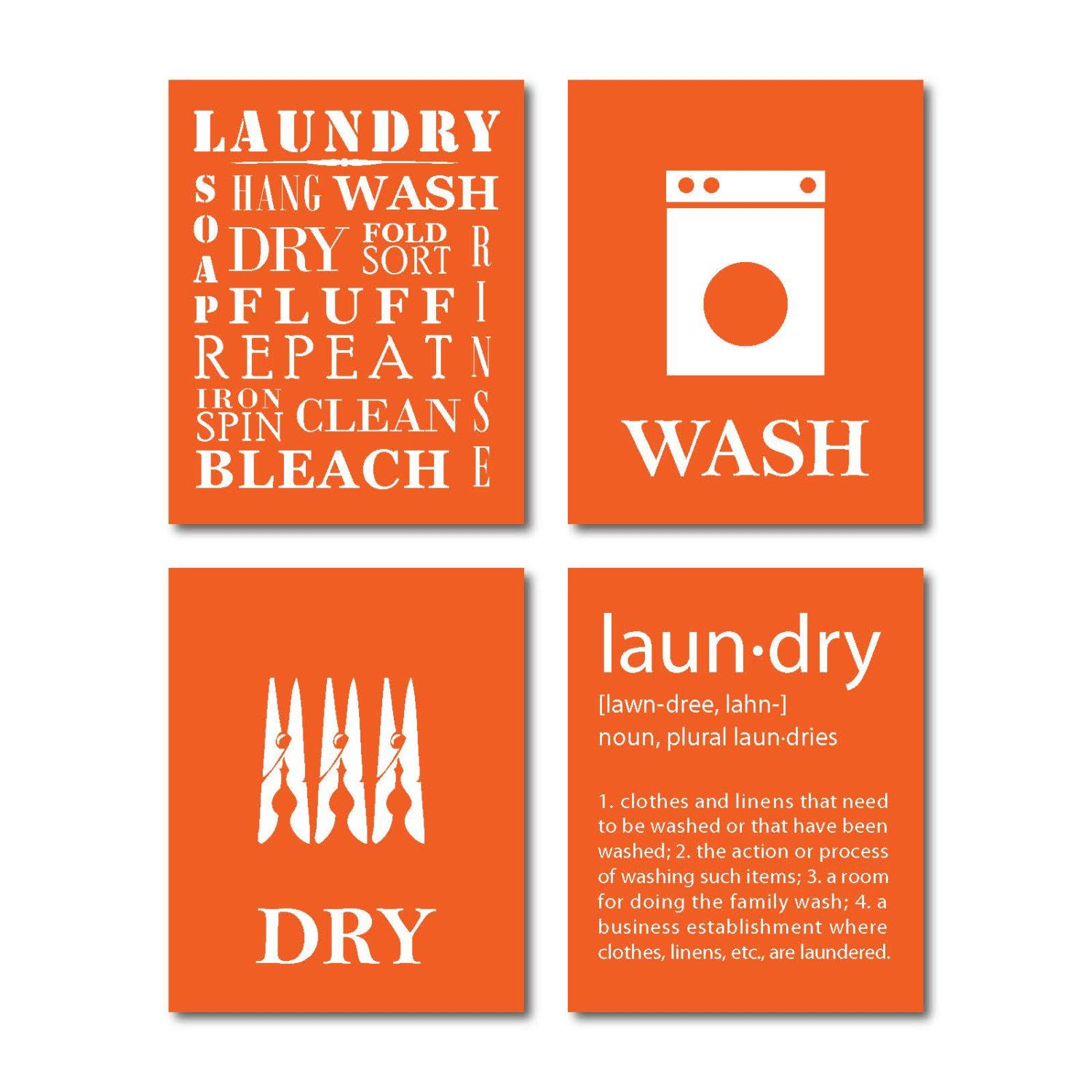 Laundry Symbols Wall Art Laundry Room Art Wall Art Quad 8 X 10Susannewberrydesigns