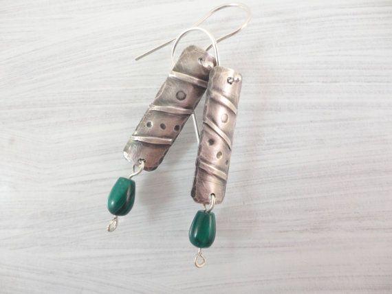 Malachite & Sterling Silver Fold Formed Earrings by Ella & Tess, $33.00