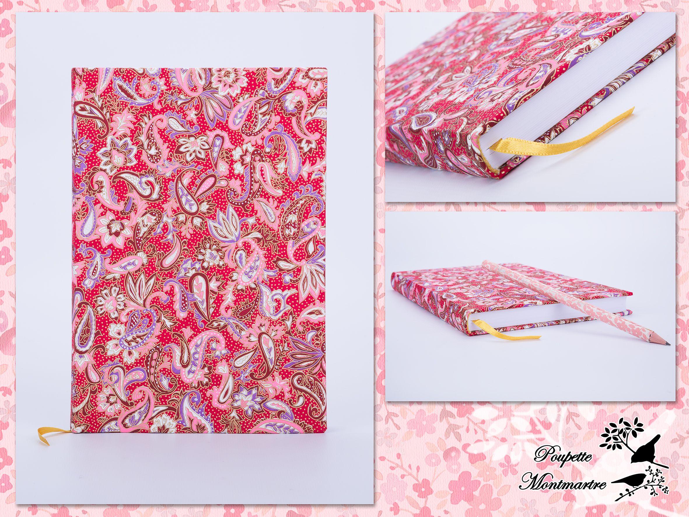 Capa forrada em papel japonês Chiyogami (Yuzen), serigrafia de Cornucópias em tons de rosa, vermelho e roxo. Design exclusivo.