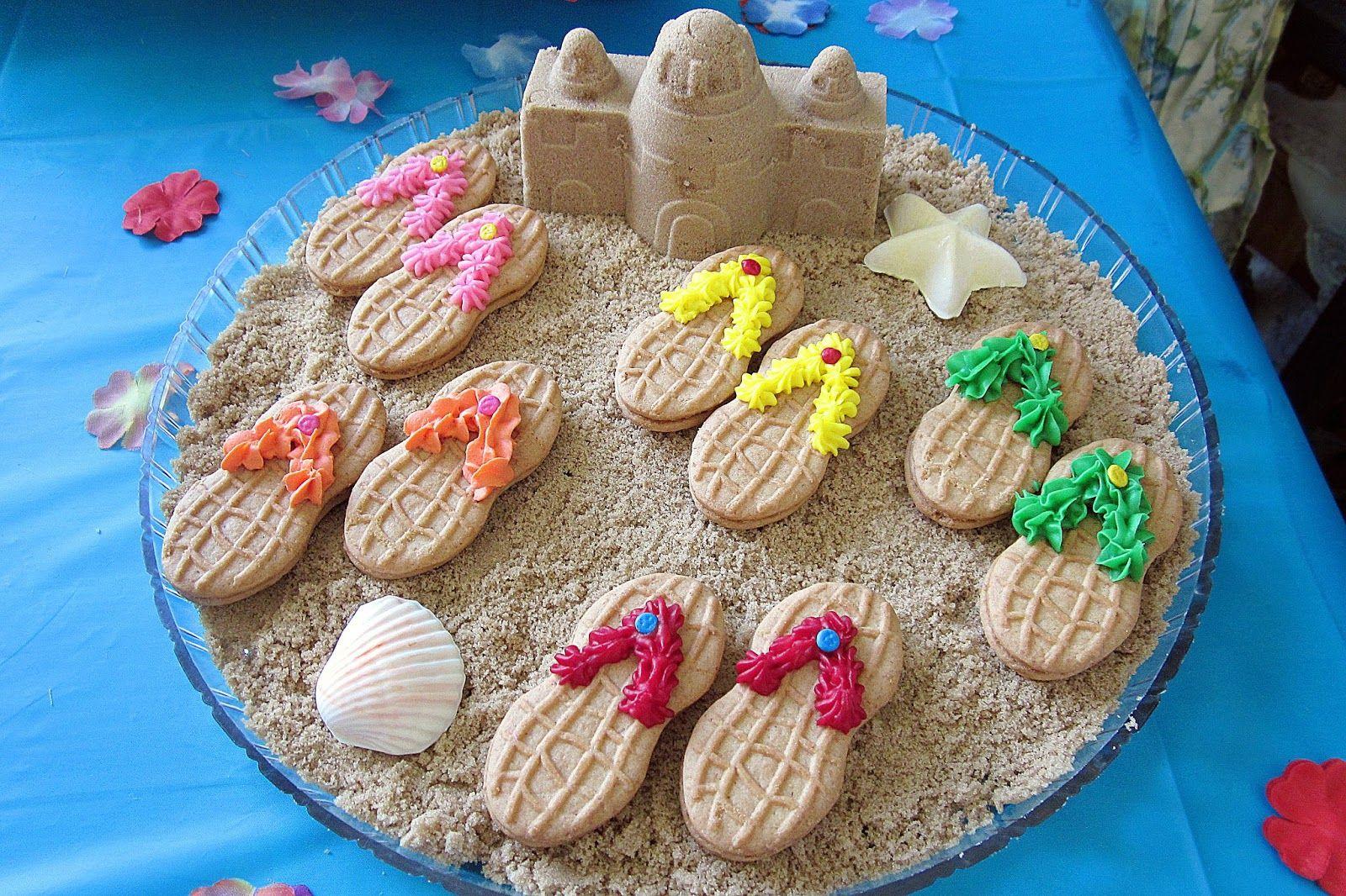 Diddles And Dumplings Hawaiian Party Desserts Nutter Butter Flip Flops In Brown Sugar