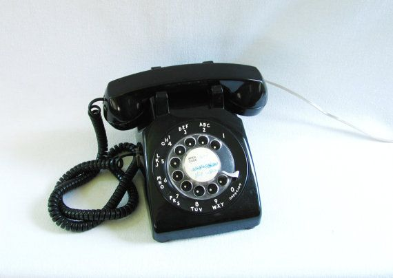 WORKS Vintage Black Rotary Phone Black Phone by HipCatRetroVintage