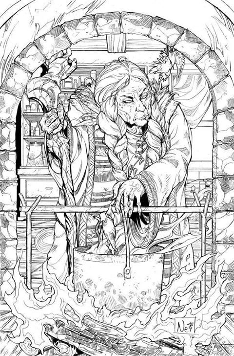 Witches Brew Fantasy Myth Mythical Mystical Legend Coloring Pages