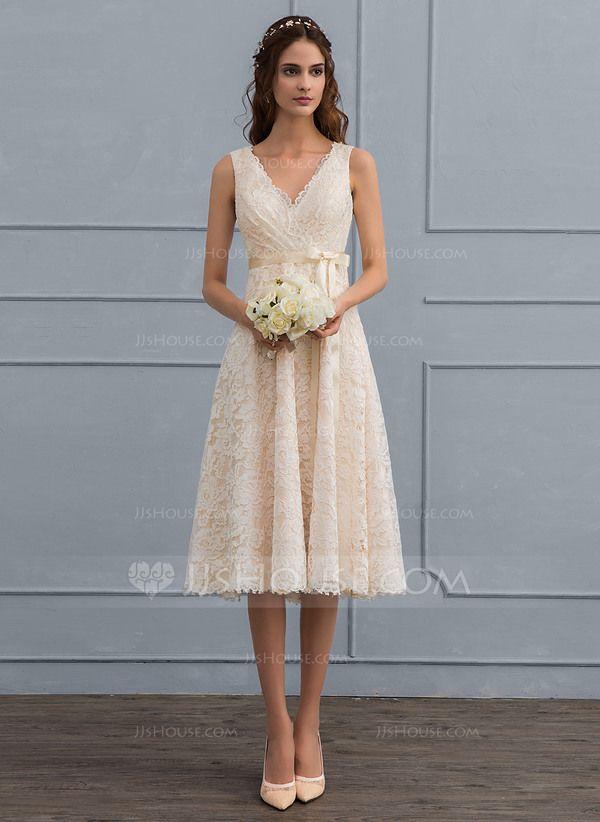 Photo of [€ 156.00] A-Line V-Neck Knee-Length Lace Wedding Dress …