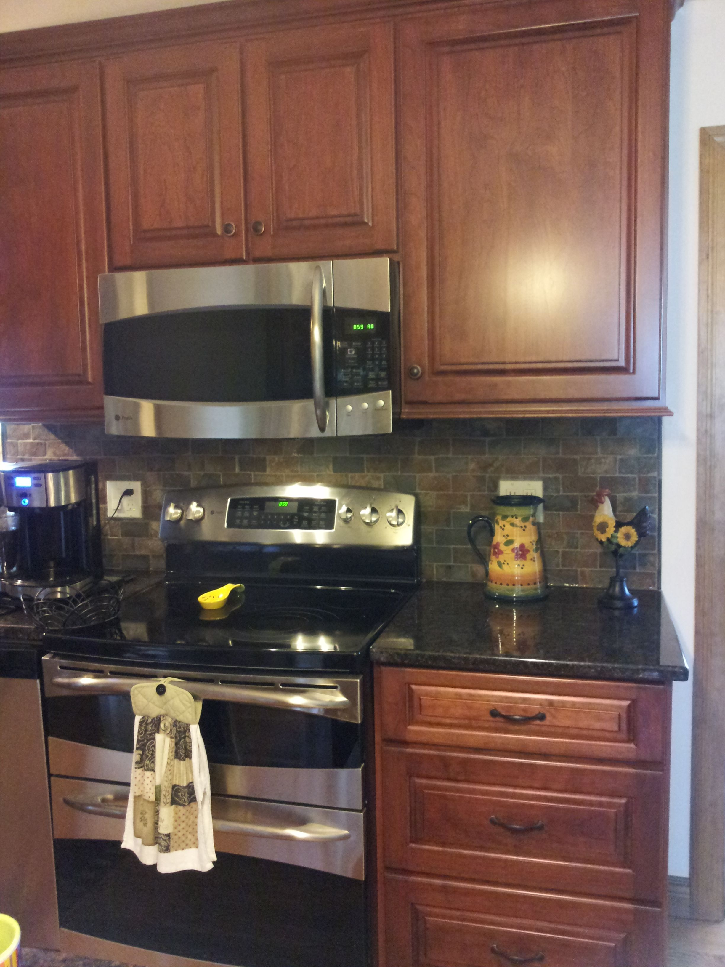 Kitchen Backsplash With Dark Cabinets Cherry Cabinets Tan Brown Granite Counter Copper Rust