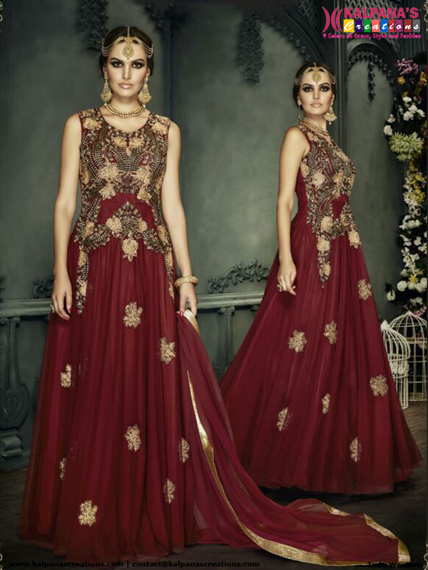 Maroon Indo Western Style Anarkali Suit | Indo Western Lehenga style ...