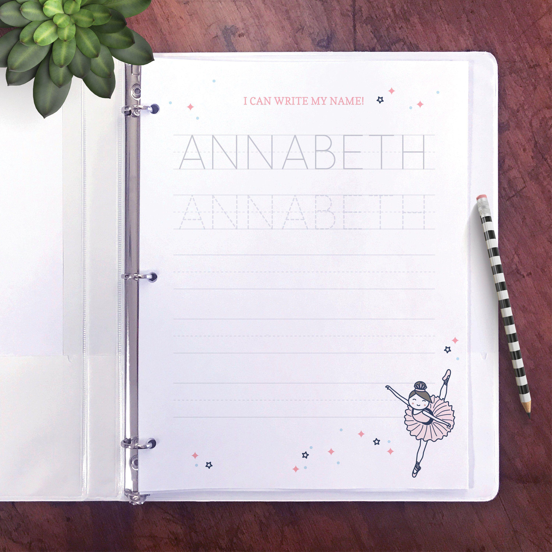 Name Writing Practice Worksheet Preschool Editable Ballet
