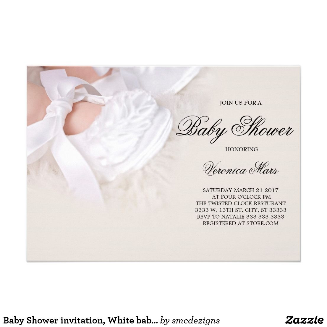 Baby Shower invitation, White baby shoes Card | White baby shoes