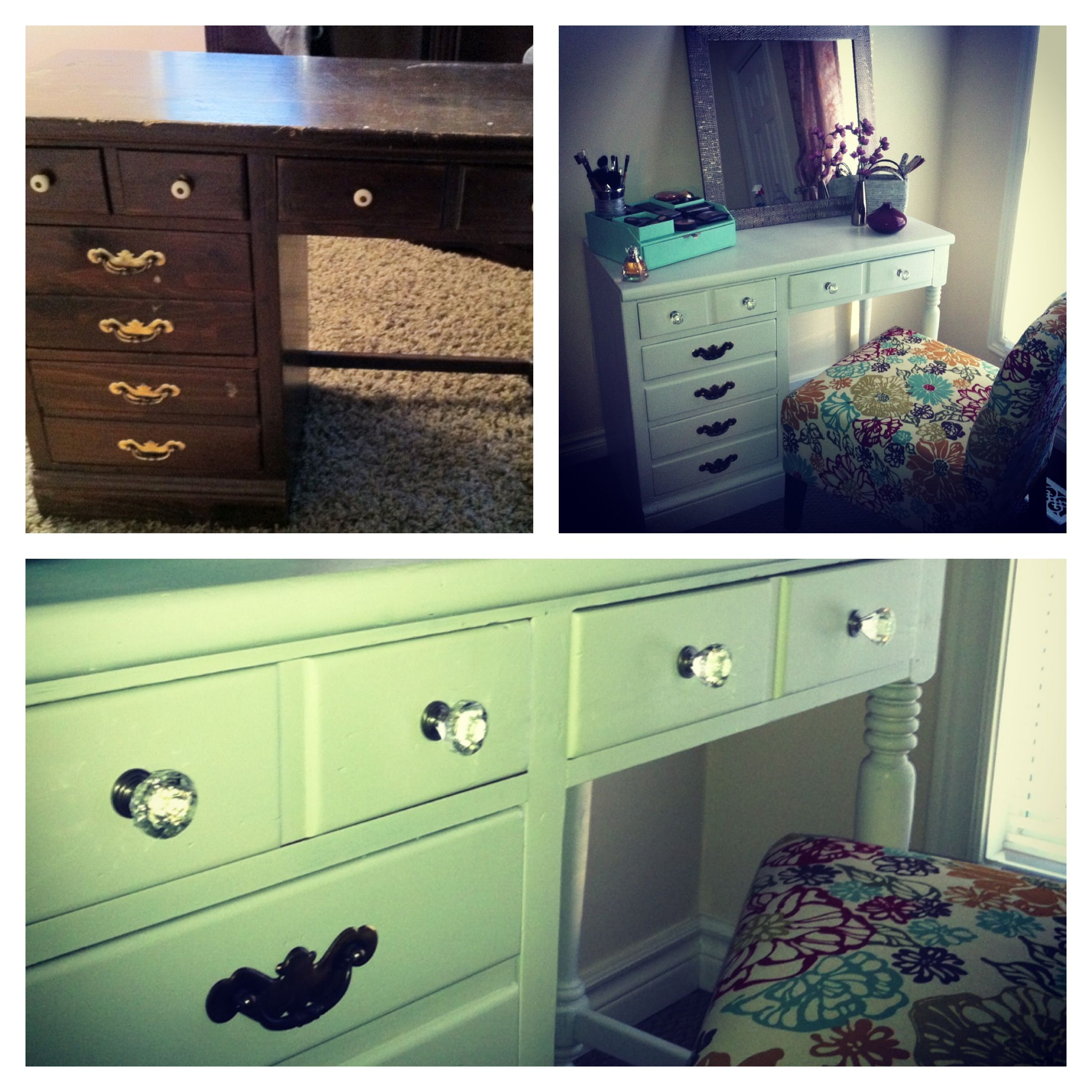 Website With Photo Gallery before after old Ethan Allen desk made into a new makeup vanity with
