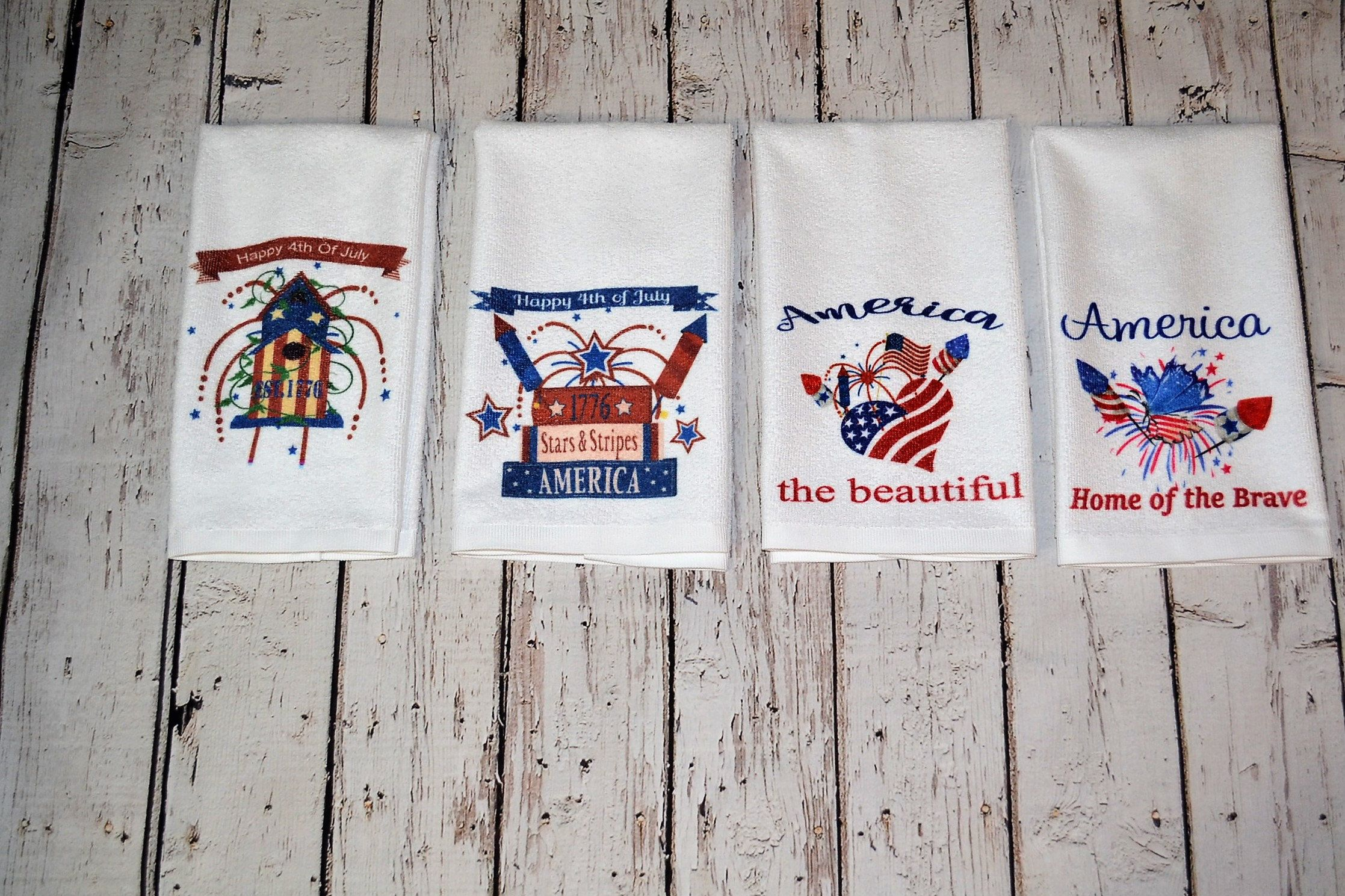 Americana Patriotic Memorial Day Independence Day Hand Towel Red