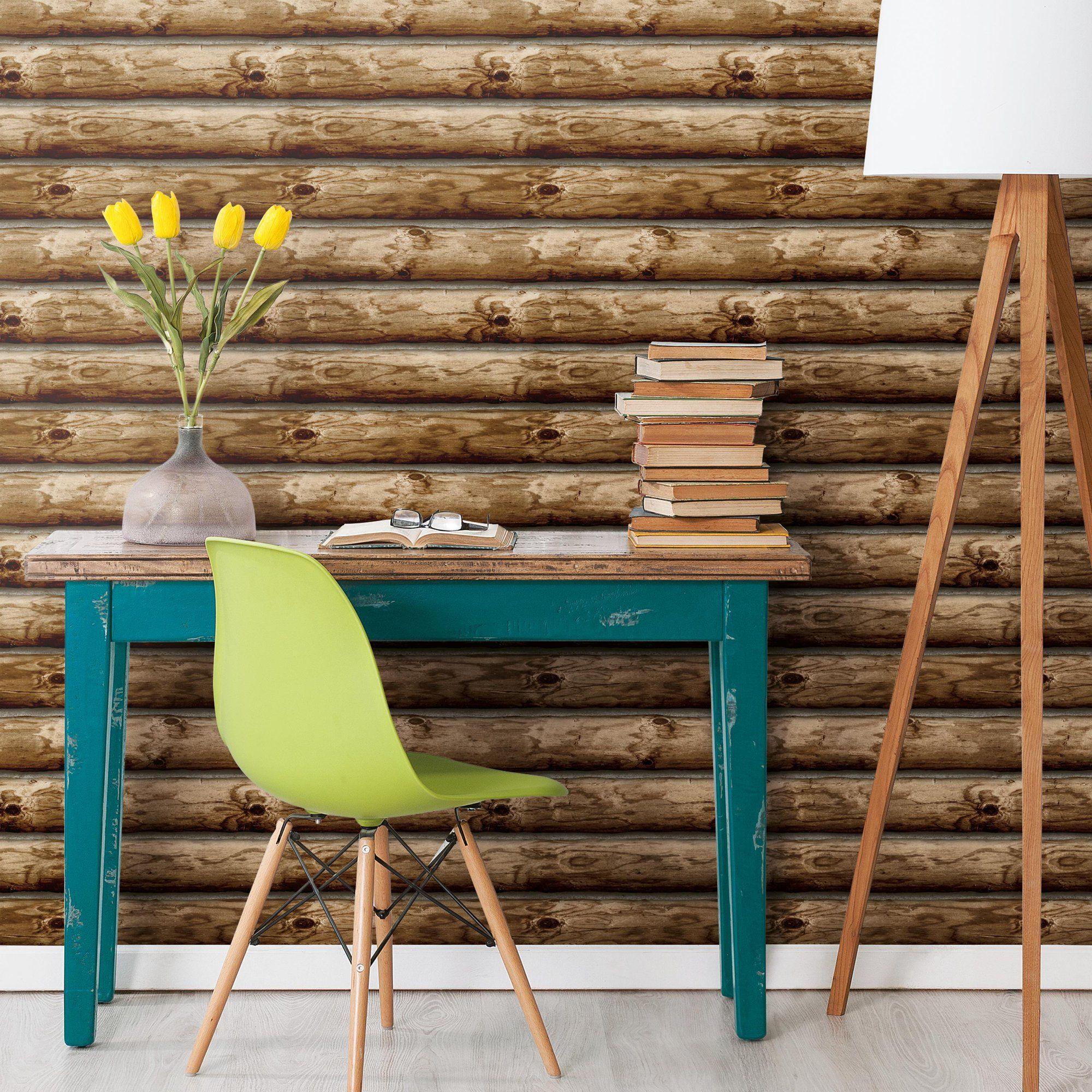 Roommates Cabin Logs Peel And Stick Wallpaper Walmart Com Log Wallpaper Peel And Stick Wallpaper Peelable Wallpaper