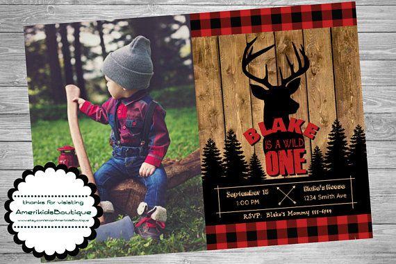 Wild One Birthday Party Invitation Buffalo Plaid Lumberjack Black