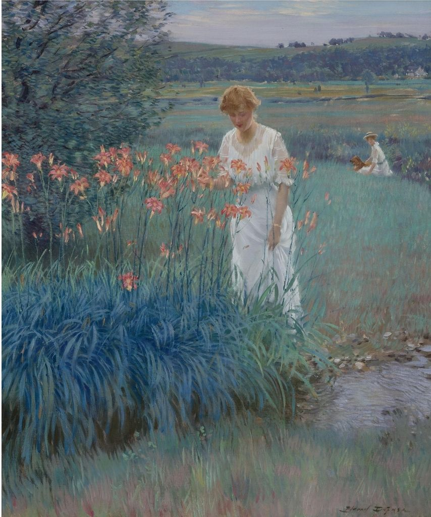 Among the lilies, Edward Dufner. (1872 - 1957)
