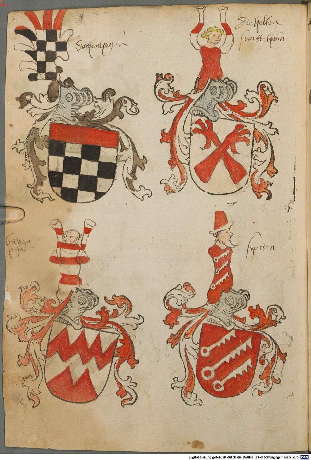 Tirol, Anton: Wappenbuch Süddeutschland, Ende 15. Jh. - 1540 Cod.icon. 310  Folio 60v