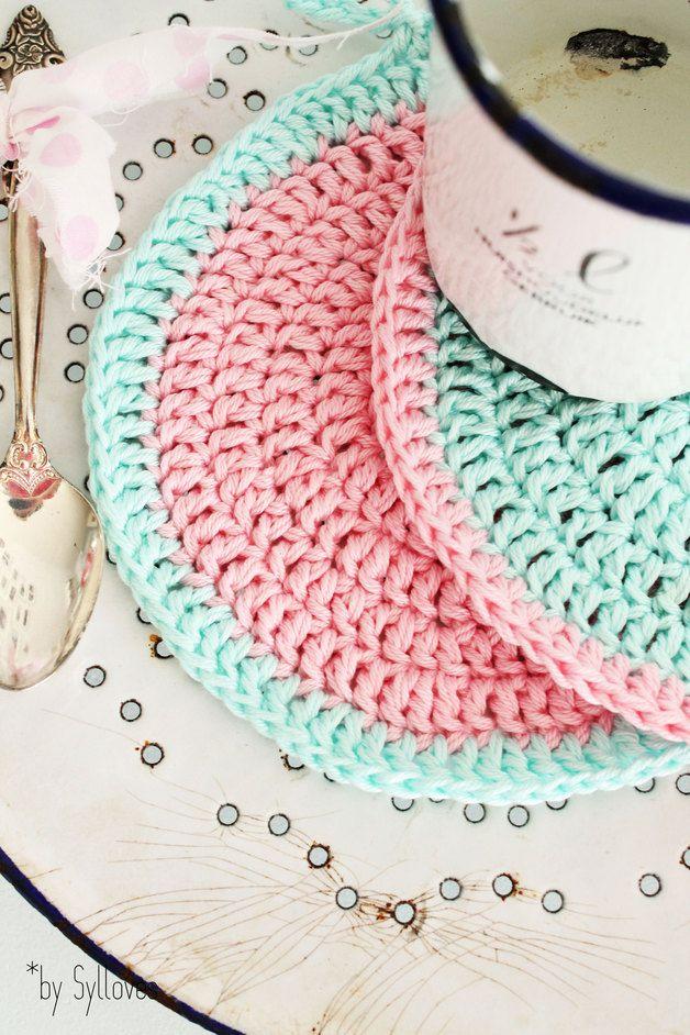 2 süße pastellige Topflappen \/Untersetzer 100 handmade by - shabby chic küchen
