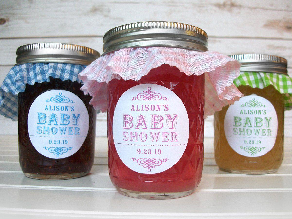 Custom Colorful Baby Shower Jar Label Girl Shower Favors Baby Shower Mason Jar Favors Canning Jar Labels