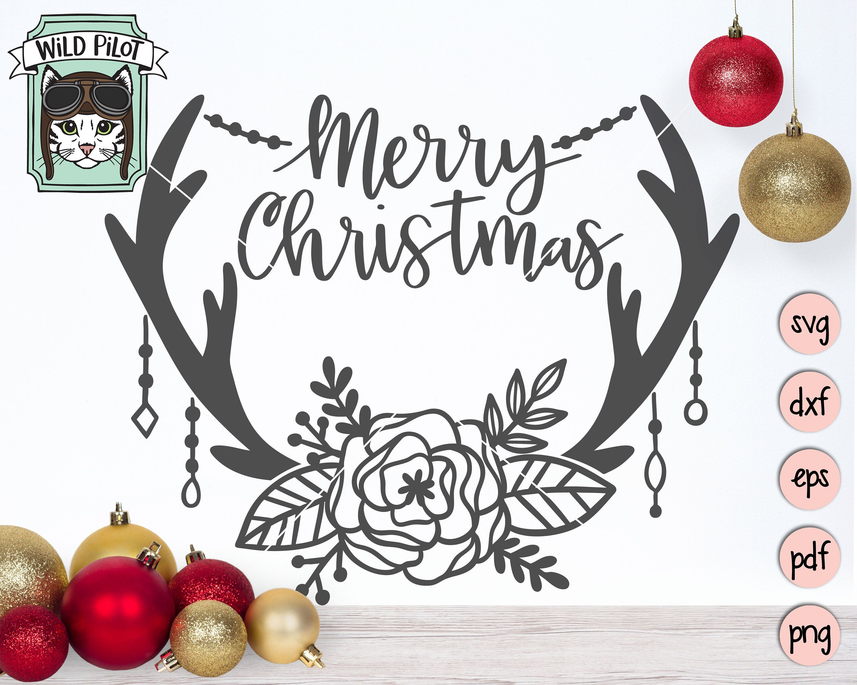 Christmas SVG, Merry Christmas SVG file, Deer, Antlers