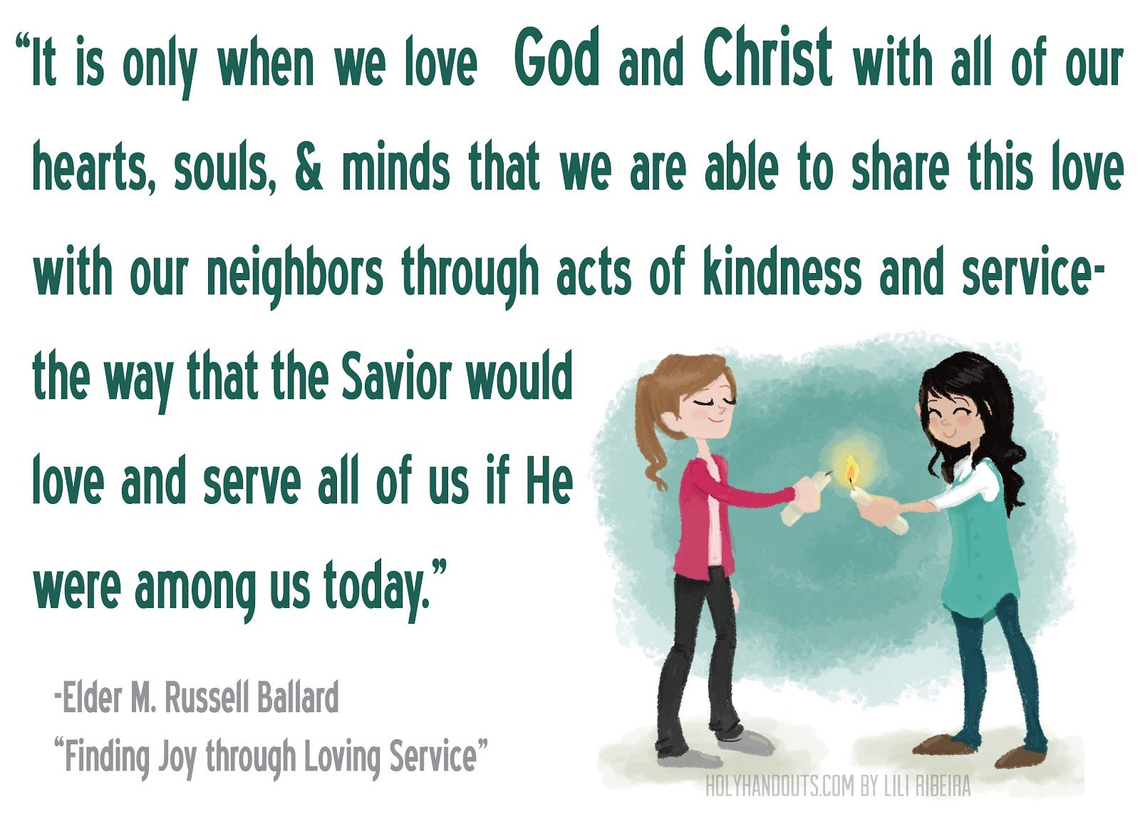 YW Lesson 20: Reach out to Others handout by holyhandouts.com