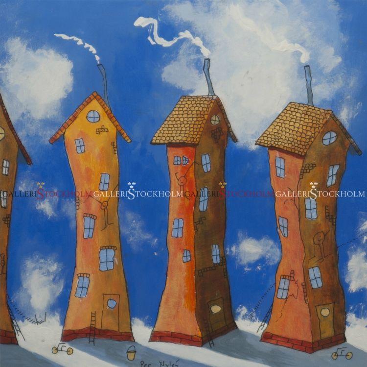 Per Nylén - Oljemålningar Stockholm - Hus på moln 23