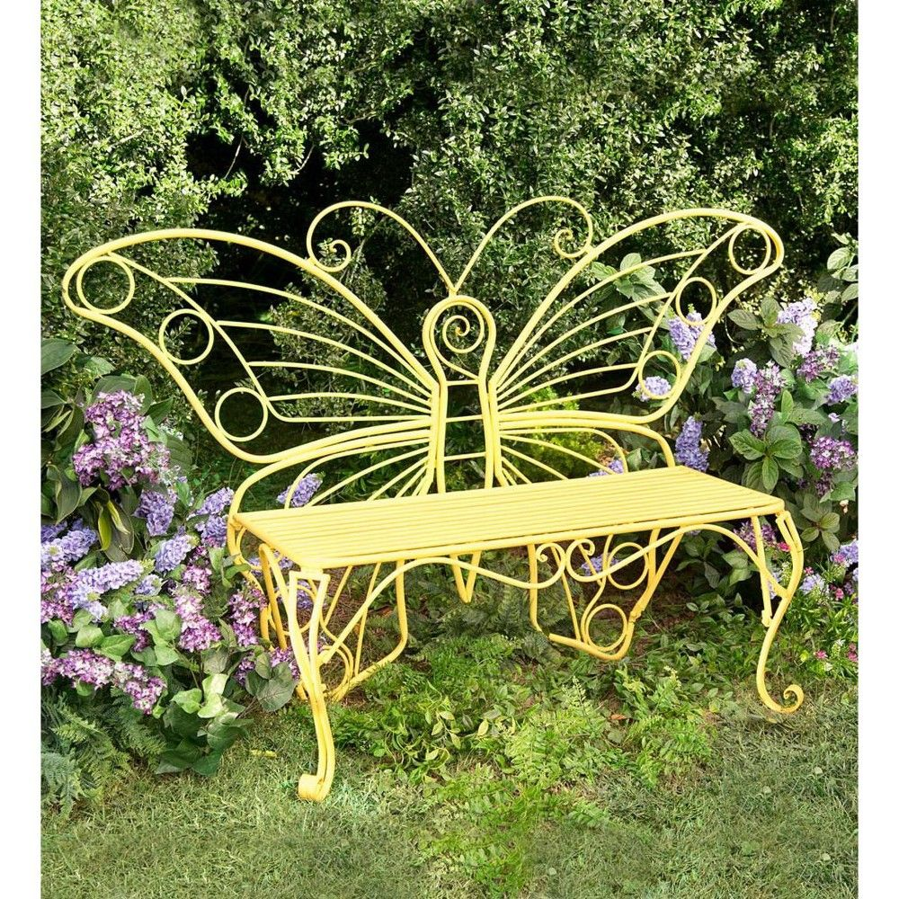 Outdoor Garden Bench With Butterfly Design In Yellow Painted Metal