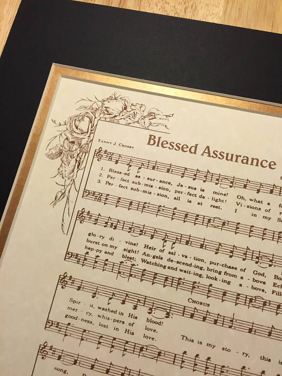 BLESSED ASSURANCE   Matted Hymn Wall Art   Christian Home U0026 Office Decor    Vintage Verses Sheet Music By Fanny Crosby Inspirational Wall Art Blesseu2026