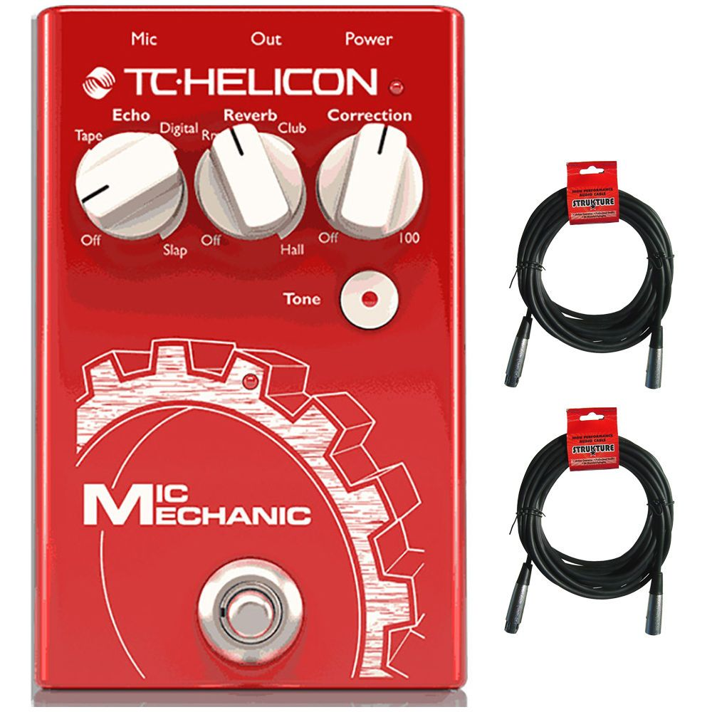 TC Helicon Mic Mechanic 2 Vocal Reverb Delay Pitch Effects Pedal  20 ft Cables