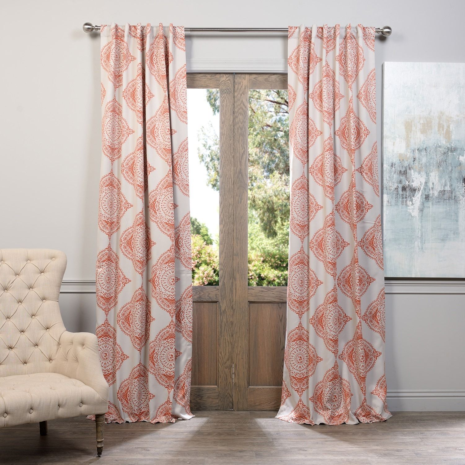 This Henna Curtain Panel Features A Blackout Design With A