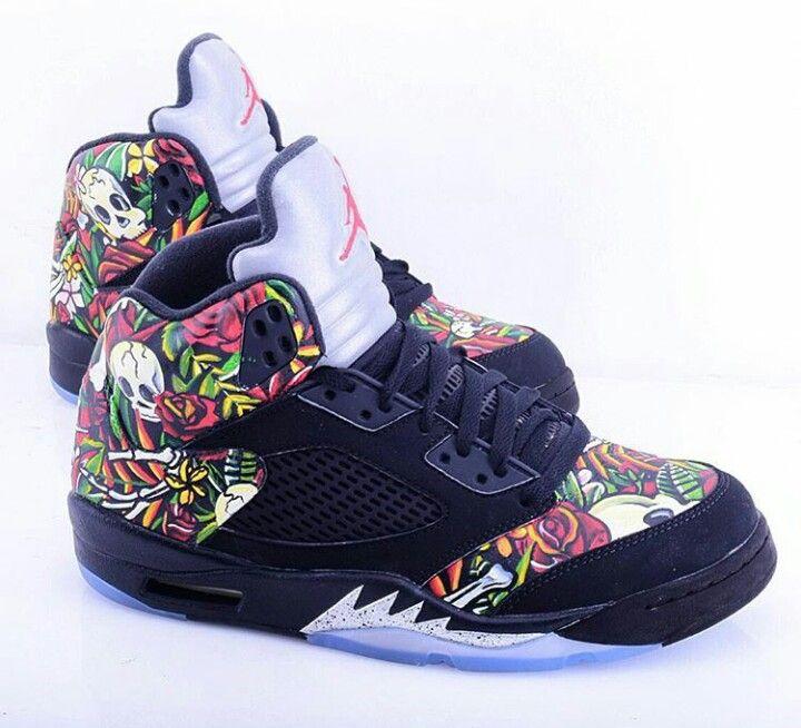 780c2dedf8b Jordan 5 Retro Flowers & Skulls Customize | Jordans | Shoes, Jordans ...