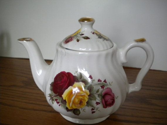 Ceracraft English Tea Pot With Red and Yellow, $8.00