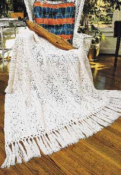 Repeating rows of lace crocheted in a beautiful heirloom blanket.