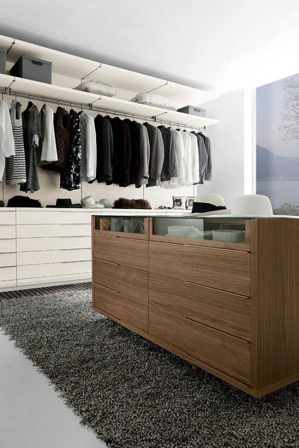 Walnut Island Unit For The Modern Walk In Wardrobe